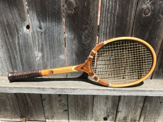 Vintage Antique Imperial Wood Tennis Racket 4m Tad Davis Usa