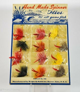 Wright & Mcgill Hand Made Flies Antique Fly Fishing Lure Dealer Display Card
