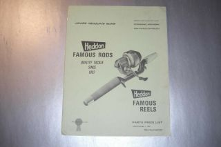 Scarce 1967 Heddon Reels & Rods Parts Price List & Dealer Letter