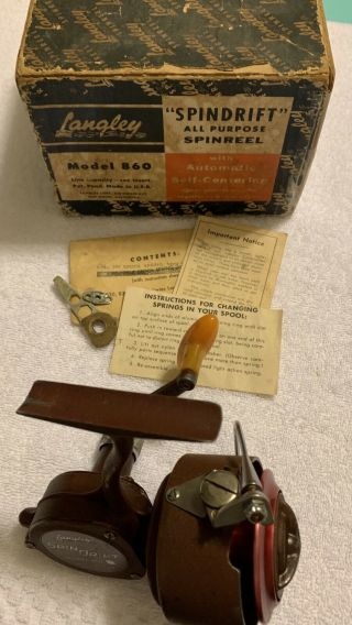 Vintage Langley Spindrift Model 860 Reel Including Box And
