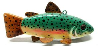 Vintage Tom Weets Baby Trout Folk Art Fish Spearing Decoy Ice Fishing Lure