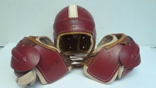 Vintage Hutch Youth Leather Football Gear - H - 8 Helmet And S - 18 Shoulder Pads