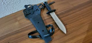Rare Made In Japan Vintage Aqua - Lung Us Divers Stainless Steel Knife W/ Sheath