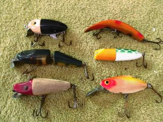 5 Vintage Unmarked & 1 Creek Chub Bait Co.  Fishing Lures