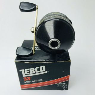 Vintage Rare Zebco 50 Classic Black Spincasting Fishing Reel Tacckle