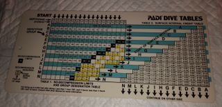 Padi Dive Table - Rare Version Scuba Diving Tables On Thick 2 - Sided Plastic Card