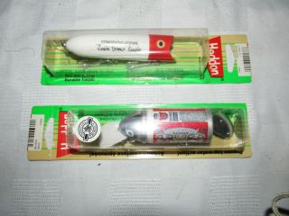 2 Heddon Lures,  Big Bud,  Budweiser Uncle Homer Circle Lucky 13,  In Package