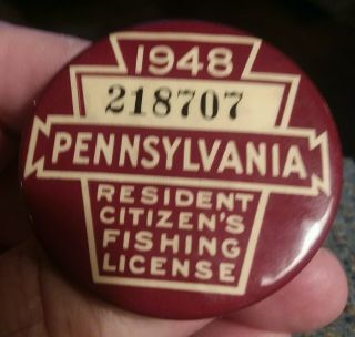 Antique 1948 Pa State Fishing License Button Pin 218707