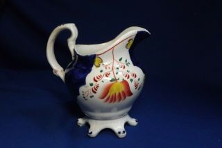"""Antique Gaudy Welsh /dutch 5 1/4 """" High Pitcher With 6 Feet Rare Form No Chips"""