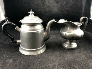 Antique Pewter Tea Pot And Pitcher From Museum Early 1800s