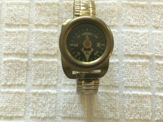 Rare Vintage Germany Brass Compass With Expandable Wrist Band