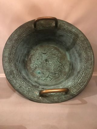 Fab Vintage Chinese Bronze Verdigris Handled Bowl W Dragon Decoration