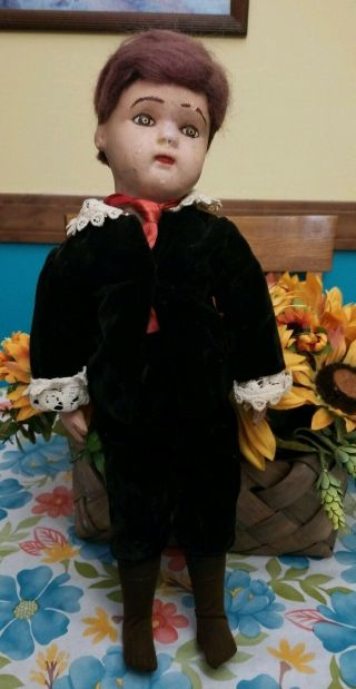 """Vintage Antique Rare 1911 Schoenhut Wood Jointed Doll 17 """" With Teeth Usa"""