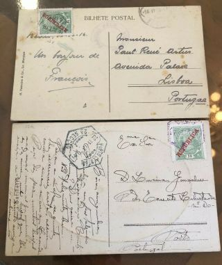 41 2 Rare Portugal Portuguese Colonial Mozambique Postal Cover Postcards