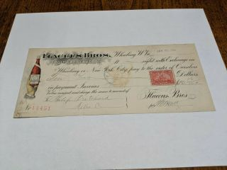 Antique 1899 Flaccus Bros.  Fruit Preservers Wheeling Wv Bank Check W/stamp Rare