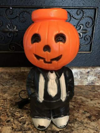 Rare Htf Vintage Halloween Mr.  Blinky Pumpkin Head Man Lighted Blow Mold - Look