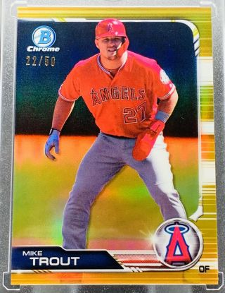 Mike Trout 2019 Bowman Chrome Gold Refractor /50 Angels Rare