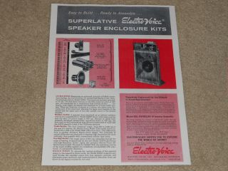 Electro - Voice Patrician Iv Kd1 Speaker Ad,  1957,  1 Page,  Article,  Specs,  Rare