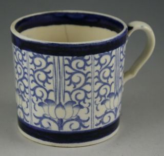 Antique Pottery Pearlware Blue Transfer Spode Lily Pattern Coffee Can 1815 Mark