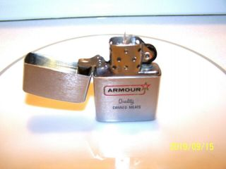 """1950 - 57 Zippo Pat.  Pend/ 2517191 """" Amour """" Quality Canned Meats Ad Lighter Rare"""
