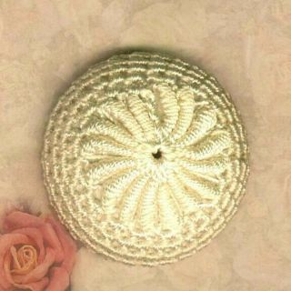 Large Victorian White Silk Needle Worked,  Wound & Crocheted Fabric Button