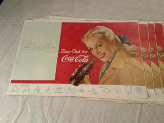 16 Vintage Rare 1948 Coca Cola Soda Fountain Paper Dinner Place Mats Book Cover