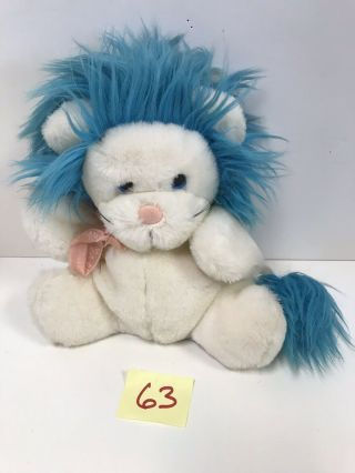 Russ Berrie Vintage Fantasia Plush Lion White Blue Hair Puppet Rare