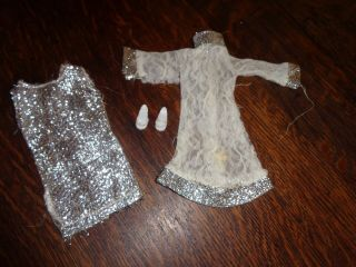 Vintage Barbie Sized Clone Silver Dress & Overdress Japanese Exclusive Clone
