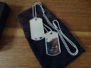 Gucci Double Identity Dog Tags Necklace Very Rare Solid Sterling Silver