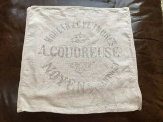 """Restoration Hardware French Grain Sack Linen Pillow Cover Moulin Cylind 22 """" Rare"""