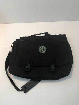 Rare Starbucks Coffee Black Computer Laptop Carry Case Messenger Bag
