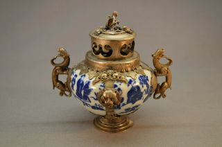 Antique Chinese 19th C.  Porcelain Incense Holder W/ Silver Overlay Dragons Lions
