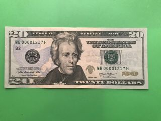 "$20.  00 Bill Mb 00002017 H ""low Serial Numbers"" (rare Find)."