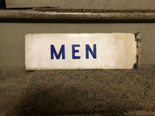 Antique Vintage Double Sided Porcelain Mens Restroom Sign