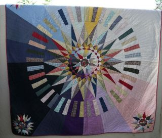 """Vintage Quilt Rare Patchwork Day & Night 78 """" By 82 """""""