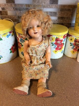 "Antique Vintage Antique Ideal 18"" Shirley Temple Doll Composition Dress Tlc"