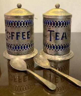 Vintage Metal Coffee And Tea Canisters Antique Tin Canisters Colbalt Blue Glass