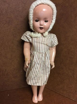 "Vintage Composition 18.  5 "" Shirley Temple? Doll With Knitted Beanie"