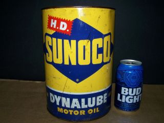 Antique Rare Sunoco Dynalube Motor Oil 5 Quart Tin Oil Can Old Vintage