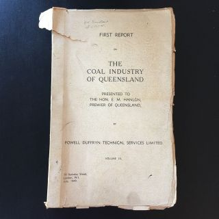 Rare The Coal Industry Of Queensland 1949 By Duffryn 68 Survey Plate - Australia