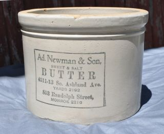 Rare Red Wing Stoneware Advertising Ad Newman Butter 10 Lb Crock Chicago Il
