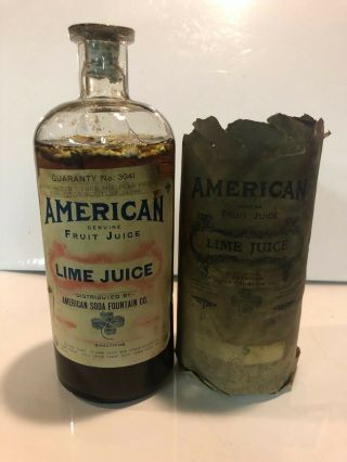 American Soda Fountain Co Lime Juice Syrup Antique Bottle Pharmacy Apothecary