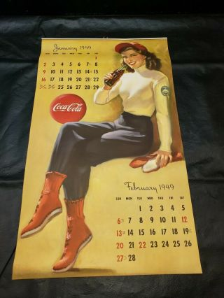 Rare 1949 Coca Cola Calendar / Vintage Advertisement All Complete