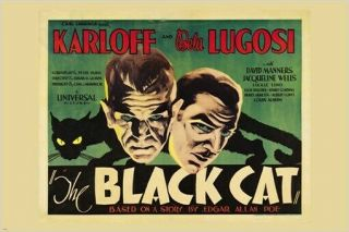 Karloff And Lugosi In The Black Cat Vintage Movie Poster Scary Mystery 24x36