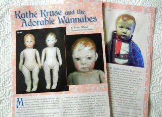 7p History Article - Antique Kathe Kruse Look - Alike Dolls - Bing,  Horsman,