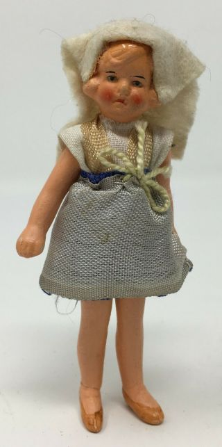 Antique Vintage German Bisque Dollhouse Wire Jointed Girl Doll W Scarf Miniature