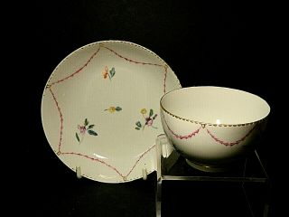 Chelsea Derby Porcelain Tea Bowl And Saucer In Rare Pattern C.  1780.  Puce Mark