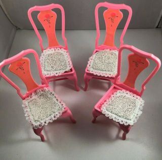 Barbie Sweet Roses Magical Mansion 4 Replacement Dining Chairs Cushions 1984