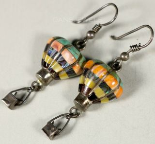 Rare Vintage Zuni Hot Air Balloon Inlay Sterling Silver Hook Dangle Earrings