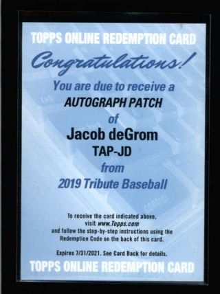 Jacob Degrom Rare 2019 Topps Tribute Game Patch Autograph Auto Redemption K9498